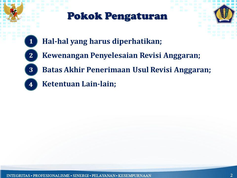 INTEGRITAS PROFESIONALISME SINERGI PELAYANAN KESEMPURNAAN 2 Pokok Pengaturan Hal-hal yang harus diperhatikan; 1 Kewenangan Penyelesaian Revisi Anggaran; Ketentuan Lain-lain; Batas Akhir Penerimaan Usul Revisi Anggaran; 2 3 4