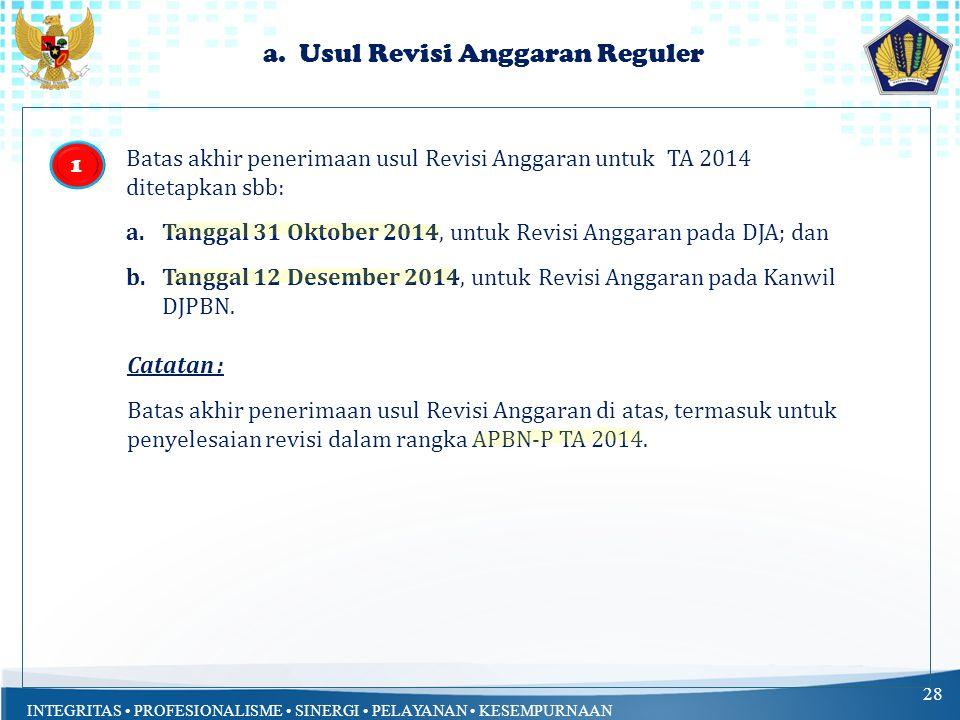 INTEGRITAS PROFESIONALISME SINERGI PELAYANAN KESEMPURNAAN 27 Batas Akhir Penerimaan Usul Revisi Anggaran : a.Revisi Anggaran yang bersifat reguler; b.