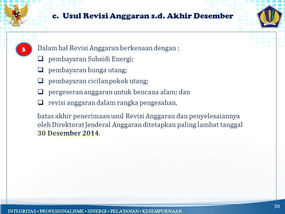 INTEGRITAS PROFESIONALISME SINERGI PELAYANAN KESEMPURNAAN b. Usul Revisi Anggaran yg Dikecualikan 29 Dalam hal Revisi Anggaran berkenaan dengan: a.Keg