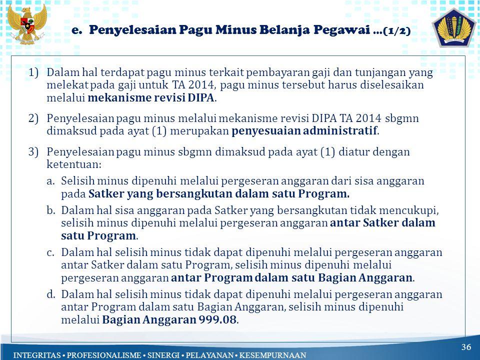 INTEGRITAS PROFESIONALISME SINERGI PELAYANAN KESEMPURNAAN 35 d. Revisi Anggaran terkait DIPA Pengesahan