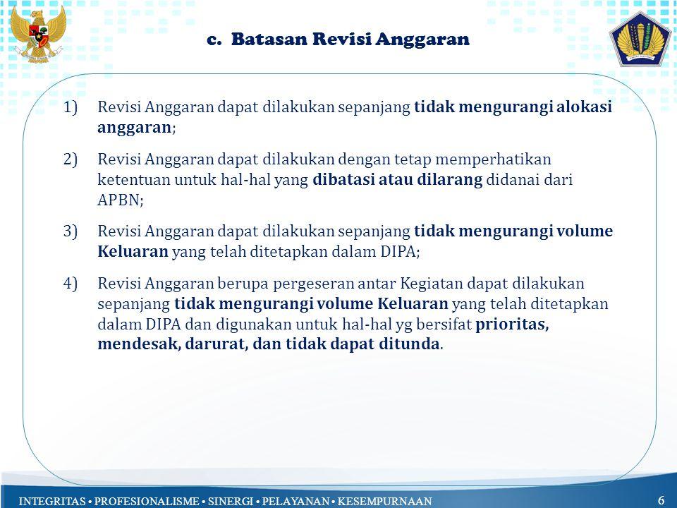 INTEGRITAS PROFESIONALISME SINERGI PELAYANAN KESEMPURNAAN 5 b. Penyederhanaan Persyaratan dan Mekanisme Revisi Anggaran...(1/2)