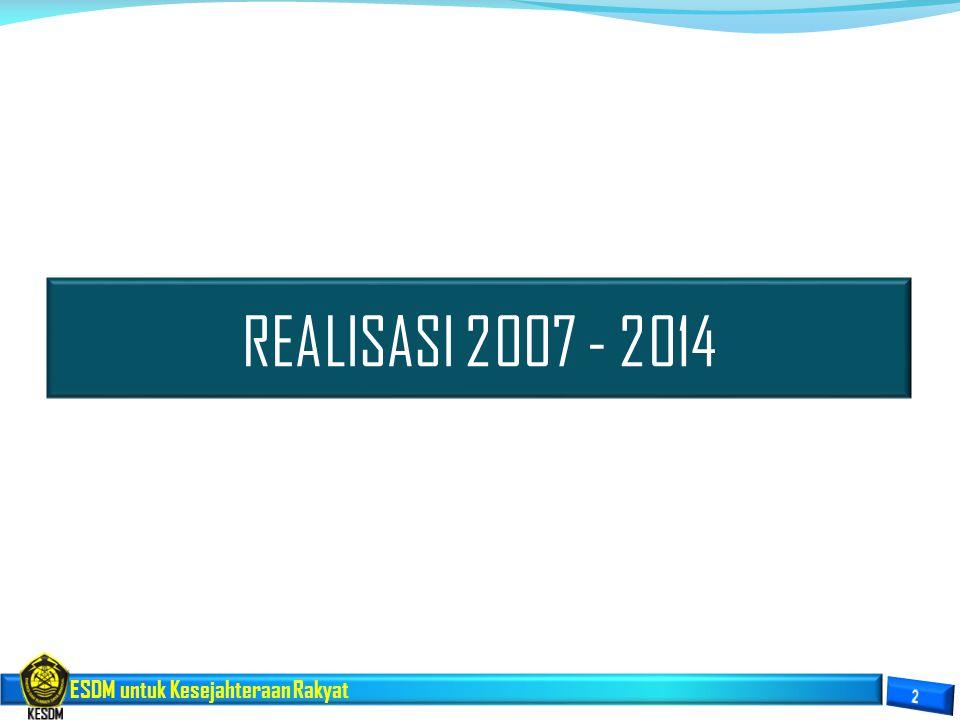 ESDM untuk Kesejahteraan Rakyat REALISASI 2007 - 2014