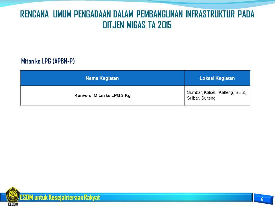 ESDM untuk Kesejahteraan Rakyat Mitan ke LPG (APBN-P) Nama KegiatanLokasi Kegiatan Konversi Mitan ke LPG 3 Kg Sumbar, Kalsel. Kalteng, Sulut, Sulbar,
