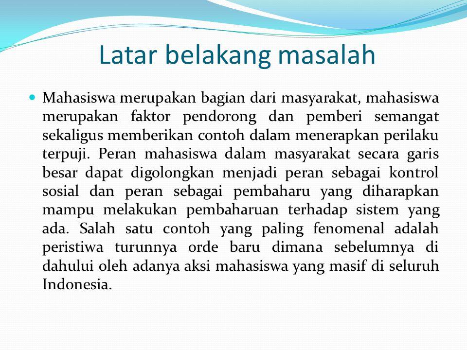 Kesimpulan Dengan kekuatan yang dimilikinya berupa semangat dalam menyuarakan dan memperjuangkan nilai-nilai kebenaran serta keberanian dalam menentang segala bentuk ketidak adilan, mahasiswa menempati posisi yang penting dalam upaya pemberantasan korupsi di Indonesia.