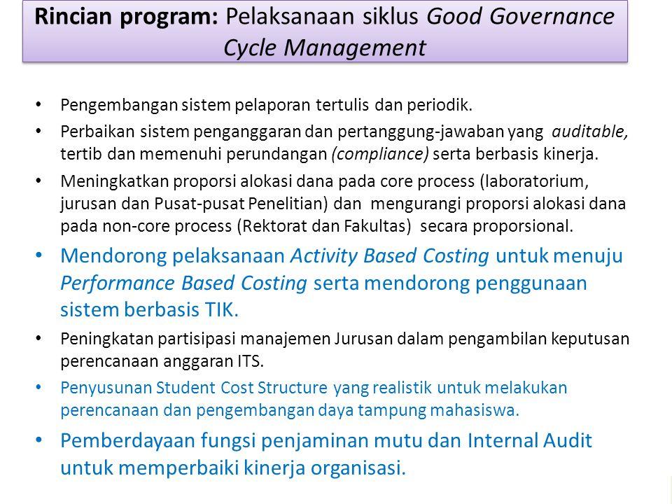 Pengembangan sistem pelaporan tertulis dan periodik. Perbaikan sistem penganggaran dan pertanggung-jawaban yang auditable, tertib dan memenuhi perunda