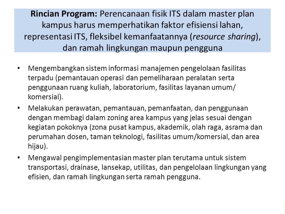 Rincian Program: Perencanaan fisik ITS dalam master plan kampus harus memperhatikan faktor efisiensi lahan, representasi ITS, fleksibel kemanfaatannya