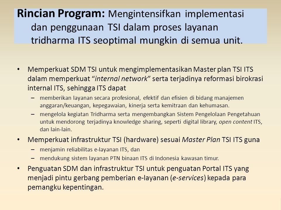 Rincian Program: Mengintensifkan implementasi dan penggunaan TSI dalam proses layanan tridharma ITS seoptimal mungkin di semua unit. Memperkuat SDM TS
