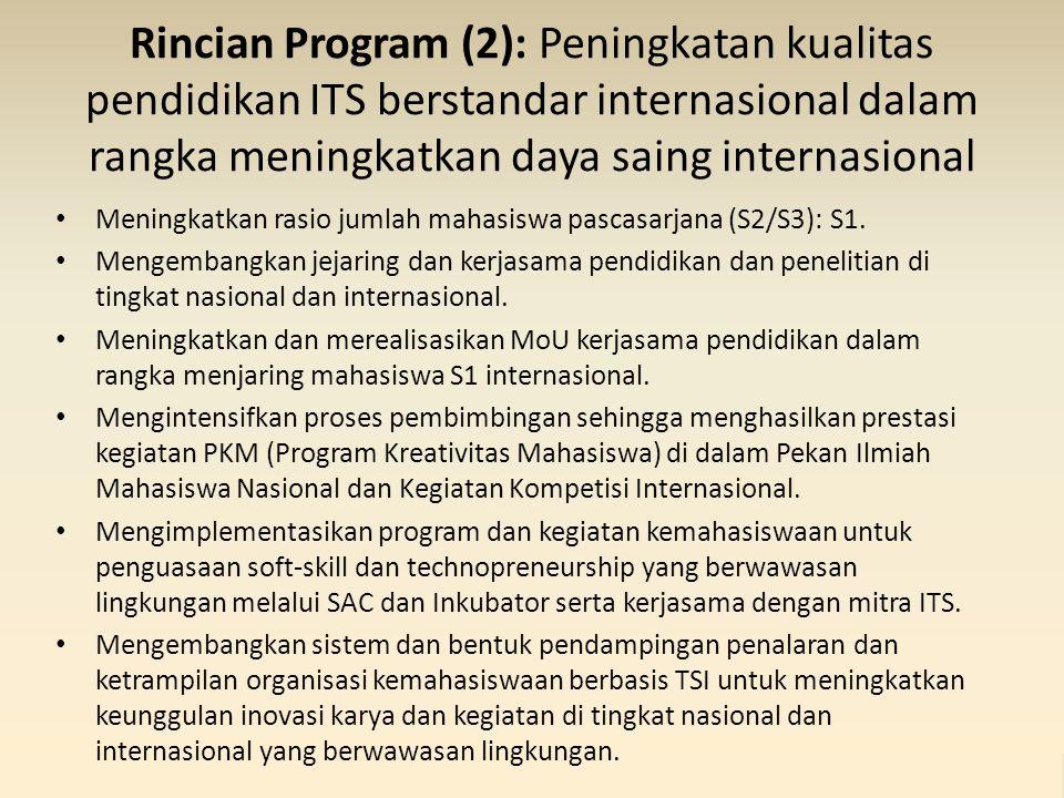 Rincian Program (2): Peningkatan kualitas pendidikan ITS berstandar internasional dalam rangka meningkatkan daya saing internasional Meningkatkan rasio jumlah mahasiswa pascasarjana (S2/S3): S1.