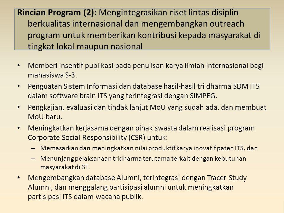 Rincian Program (2): Mengintegrasikan riset lintas disiplin berkualitas internasional dan mengembangkan outreach program untuk memberikan kontribusi kepada masyarakat di tingkat lokal maupun nasional Memberi insentif publikasi pada penulisan karya ilmiah internasional bagi mahasiswa S-3.