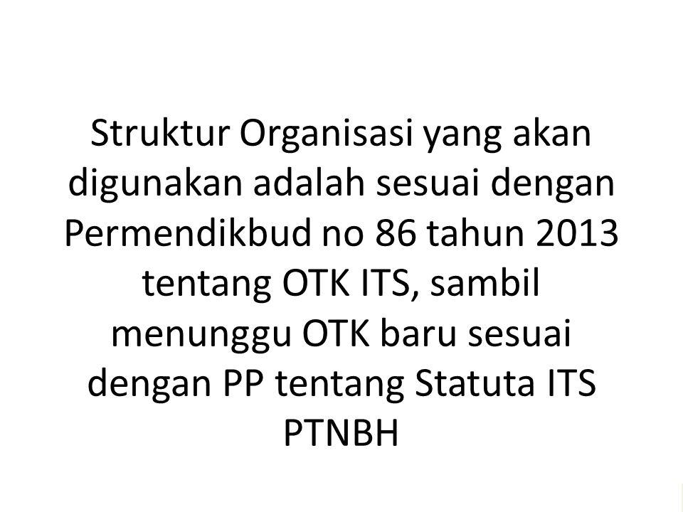 Struktur Organisasi yang akan digunakan adalah sesuai dengan Permendikbud no 86 tahun 2013 tentang OTK ITS, sambil menunggu OTK baru sesuai dengan PP tentang Statuta ITS PTNBH Melayani semua dengan jiwa Kegotongroyongan – untuk menggapai Kesejahtteraan bersama – dan meraih Keunggulan