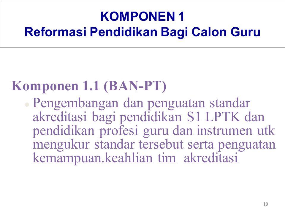 10 KOMPONEN 1 Reformasi Pendidikan Bagi Calon Guru Komponen 1.1 (BAN-PT) l Pengembangan dan penguatan standar akreditasi bagi pendidikan S1 LPTK dan p