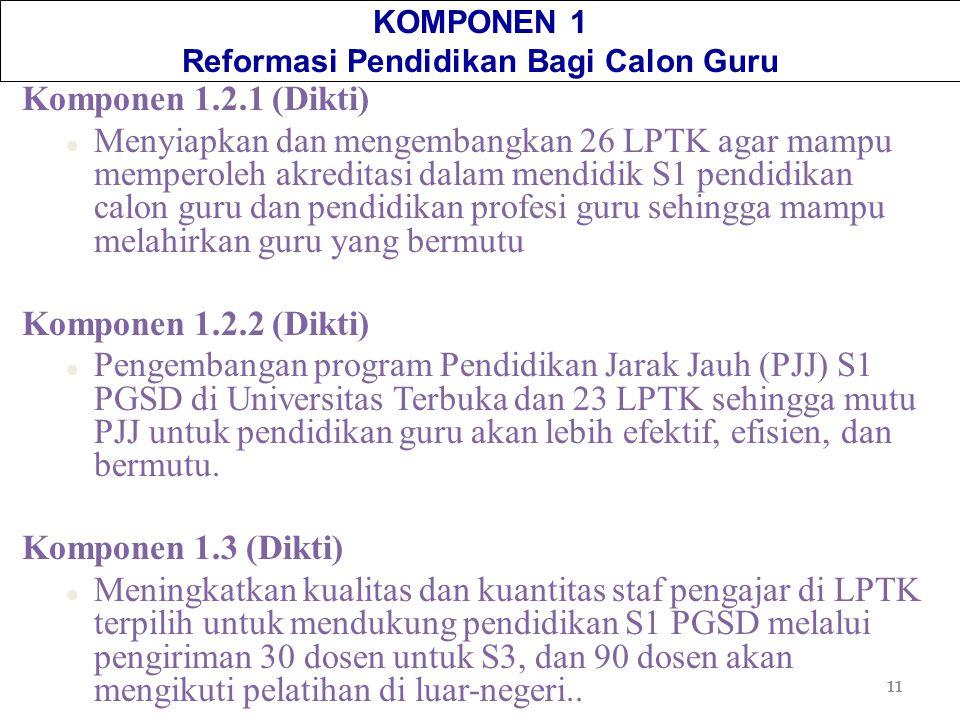 11 KOMPONEN 1 Reformasi Pendidikan Bagi Calon Guru Komponen 1.2.1 (Dikti) l Menyiapkan dan mengembangkan 26 LPTK agar mampu memperoleh akreditasi dala