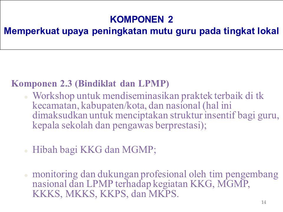 14 KOMPONEN 2 Memperkuat upaya peningkatan mutu guru pada tingkat lokal Komponen 2.3 (Bindiklat dan LPMP) l Workshop untuk mendiseminasikan praktek te