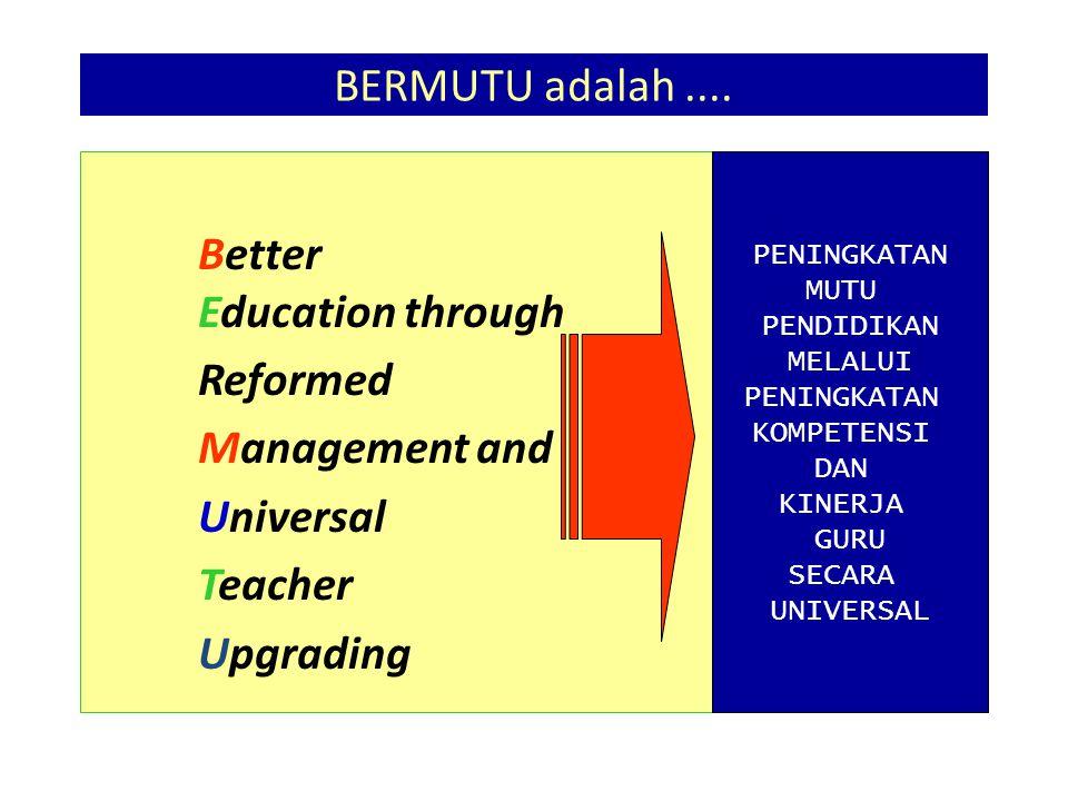 BERMUTU adalah.... Better Education through Reformed Management and Universal Teacher Upgrading PENINGKATAN MUTU PENDIDIKAN MELALUI PENINGKATAN KOMPET