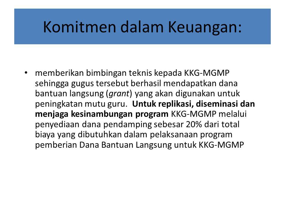 Komitmen dalam Keuangan: memberikan bimbingan teknis kepada KKG-MGMP sehingga gugus tersebut berhasil mendapatkan dana bantuan langsung (grant) yang a