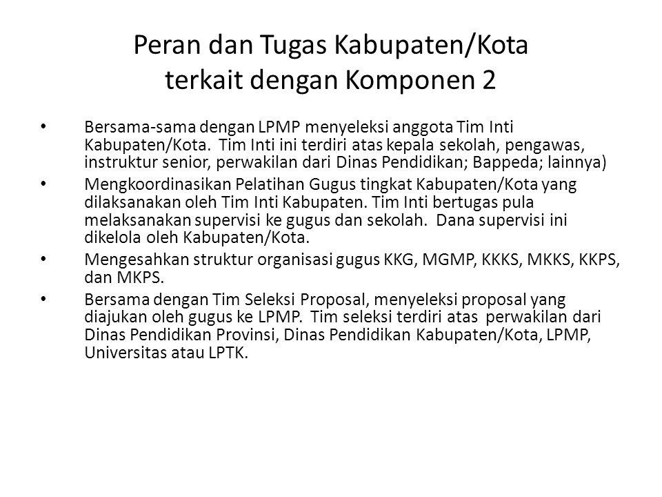 Peran dan Tugas Kabupaten/Kota terkait dengan Komponen 2 Bersama-sama dengan LPMP menyeleksi anggota Tim Inti Kabupaten/Kota. Tim Inti ini terdiri ata