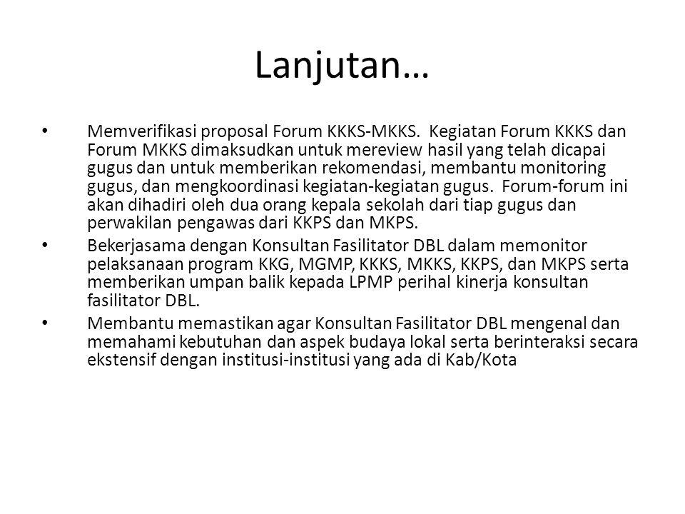 Lanjutan… Memverifikasi proposal Forum KKKS-MKKS. Kegiatan Forum KKKS dan Forum MKKS dimaksudkan untuk mereview hasil yang telah dicapai gugus dan unt