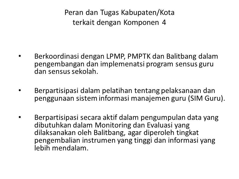 Peran dan Tugas Kabupaten/Kota terkait dengan Komponen 4 Berkoordinasi dengan LPMP, PMPTK dan Balitbang dalam pengembangan dan implemenatsi program se
