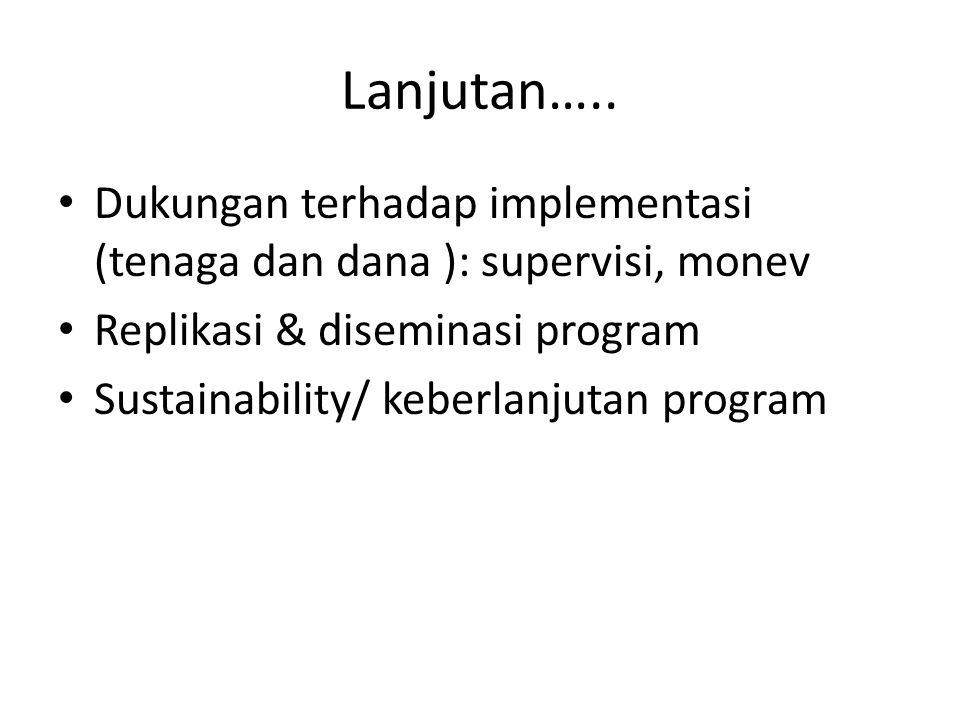 Lanjutan….. Dukungan terhadap implementasi (tenaga dan dana ): supervisi, monev Replikasi & diseminasi program Sustainability/ keberlanjutan program