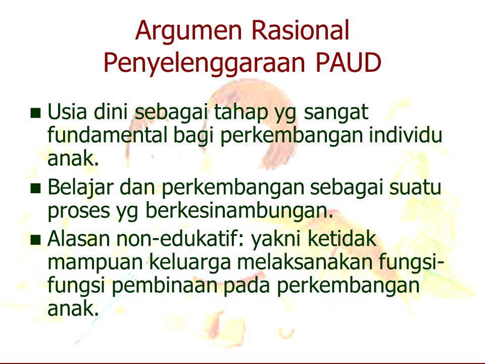 Argumen Rasional Penyelenggaraan PAUD Usia dini sebagai tahap yg sangat fundamental bagi perkembangan individu anak. Belajar dan perkembangan sebagai