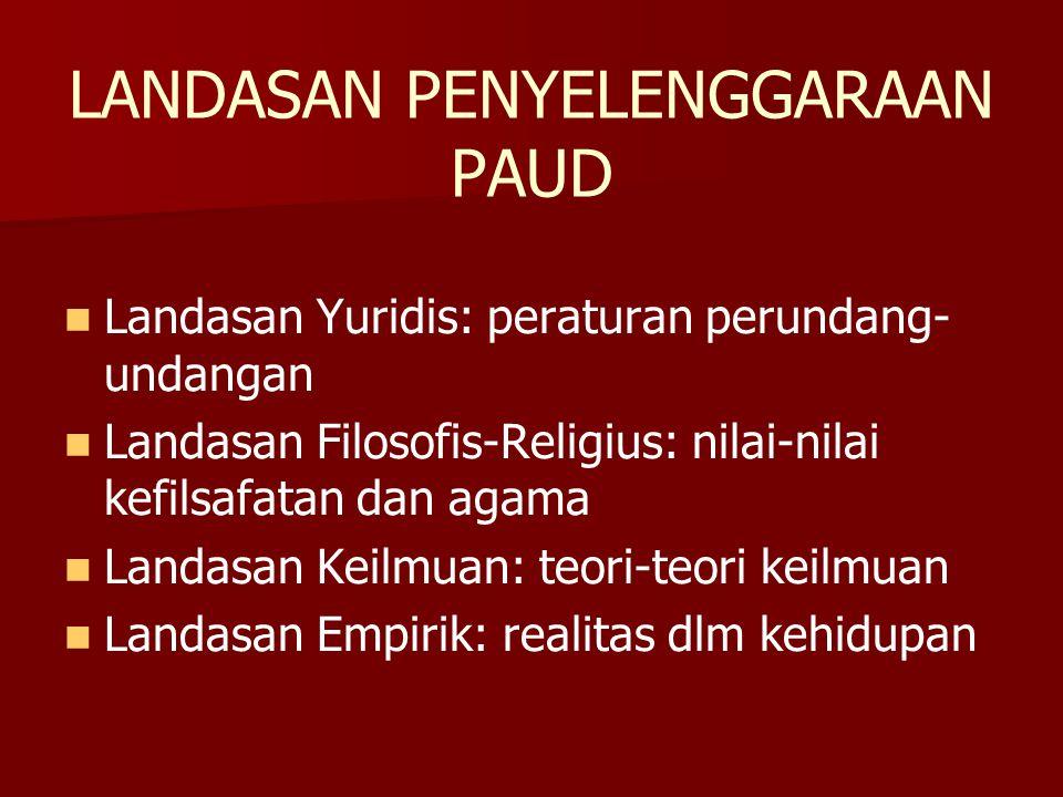 LANDASAN PENYELENGGARAAN PAUD Landasan Yuridis: peraturan perundang- undangan Landasan Filosofis-Religius: nilai-nilai kefilsafatan dan agama Landasan