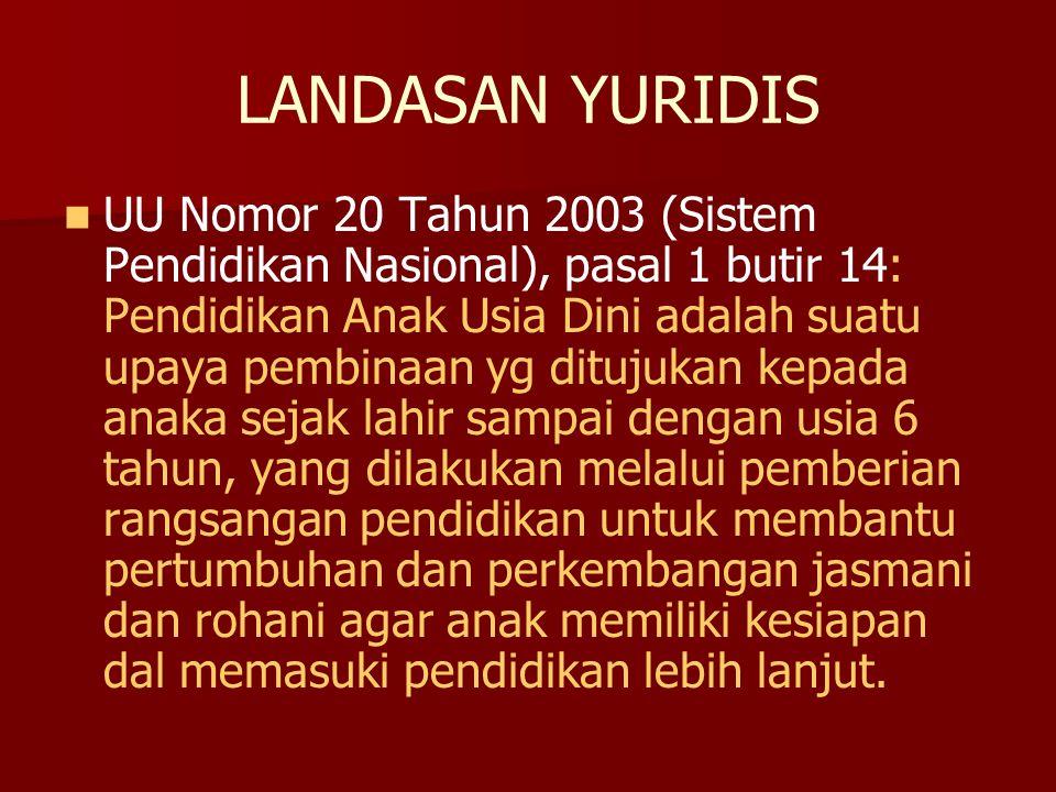 LANDASAN YURIDIS UU Nomor 20 Tahun 2003 (Sistem Pendidikan Nasional), pasal 1 butir 14: Pendidikan Anak Usia Dini adalah suatu upaya pembinaan yg ditu