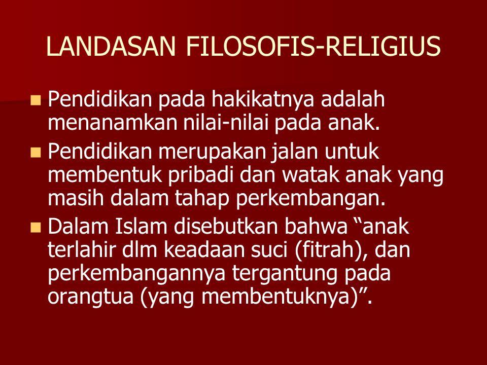 LANDASAN FILOSOFIS-RELIGIUS Pendidikan pada hakikatnya adalah menanamkan nilai-nilai pada anak. Pendidikan merupakan jalan untuk membentuk pribadi dan