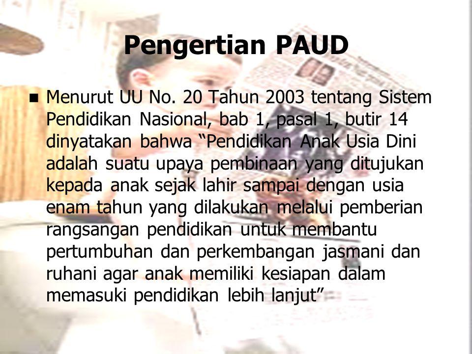 """Pengertian PAUD Menurut UU No. 20 Tahun 2003 tentang Sistem Pendidikan Nasional, bab 1, pasal 1, butir 14 dinyatakan bahwa """"Pendidikan Anak Usia Dini"""