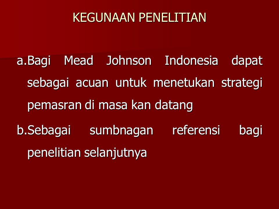 KEGUNAAN PENELITIAN a.Bagi Mead Johnson Indonesia dapat sebagai acuan untuk menetukan strategi pemasran di masa kan datang b.Sebagai sumbnagan referensi bagi penelitian selanjutnya