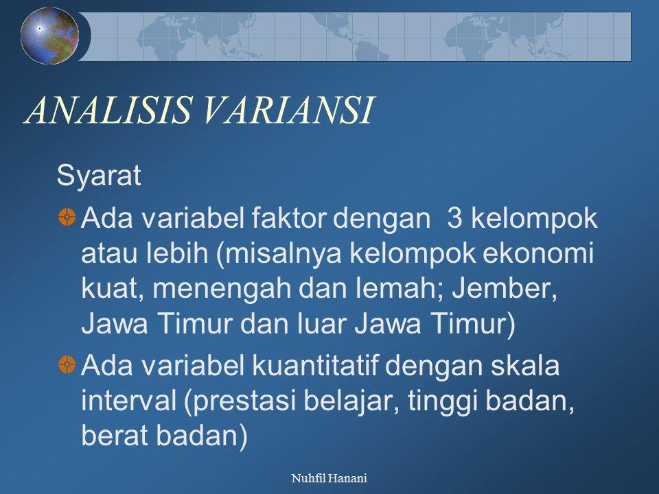 Nuhfil Hanani ANALISIS VARIANSI Syarat Ada variabel faktor dengan 3 kelompok atau lebih (misalnya kelompok ekonomi kuat, menengah dan lemah; Jember, Jawa Timur dan luar Jawa Timur) Ada variabel kuantitatif dengan skala interval (prestasi belajar, tinggi badan, berat badan)