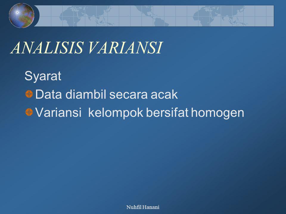 Nuhfil Hanani ANALISIS VARIANSI Syarat Data diambil secara acak Variansi kelompok bersifat homogen