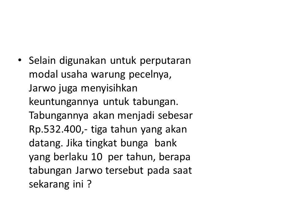 Selain digunakan untuk perputaran modal usaha warung pecelnya, Jarwo juga menyisihkan keuntungannya untuk tabungan. Tabungannya akan menjadi sebesar R