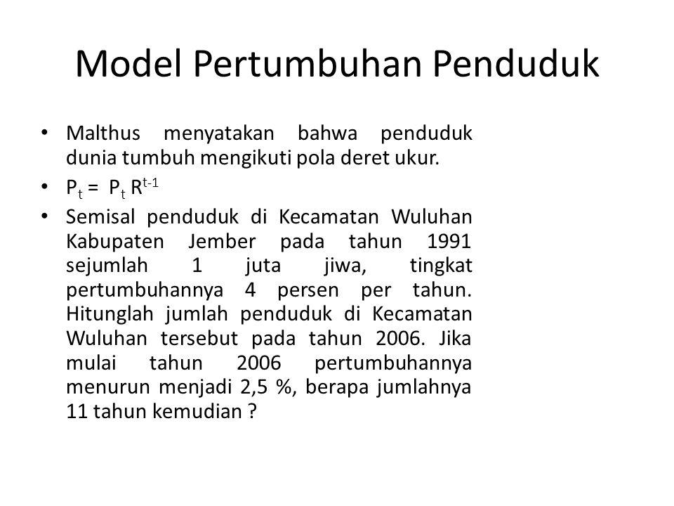 Model Pertumbuhan Penduduk Malthus menyatakan bahwa penduduk dunia tumbuh mengikuti pola deret ukur. P t = P t R t-1 Semisal penduduk di Kecamatan Wul