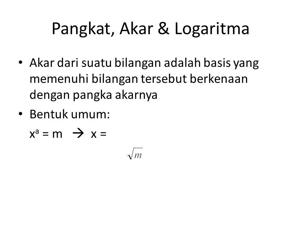 Pangkat, akar & Logaritma Logaritma dari suatu bilangan adalah pangkat yang harus dikenakan pada bilangan pokok Logaritma untuk memperoleh bilangan tersebut.