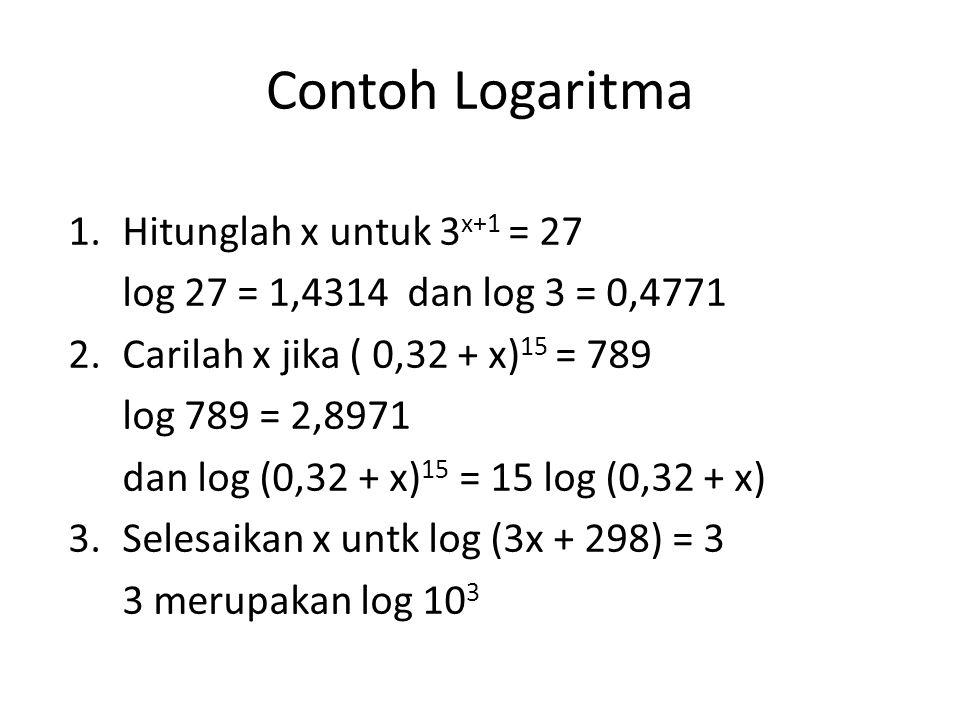 Contoh Logaritma 1.Hitunglah x untuk 3 x+1 = 27 log 27 = 1,4314 dan log 3 = 0,4771 2.Carilah x jika ( 0,32 + x) 15 = 789 log 789 = 2,8971 dan log (0,3