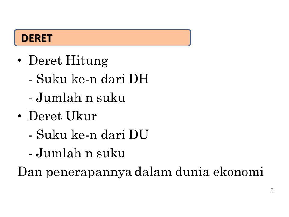 DERET Deret Hitung - Suku ke-n dari DH - Jumlah n suku Deret Ukur - Suku ke-n dari DU - Jumlah n suku Dan penerapannya dalam dunia ekonomi 6