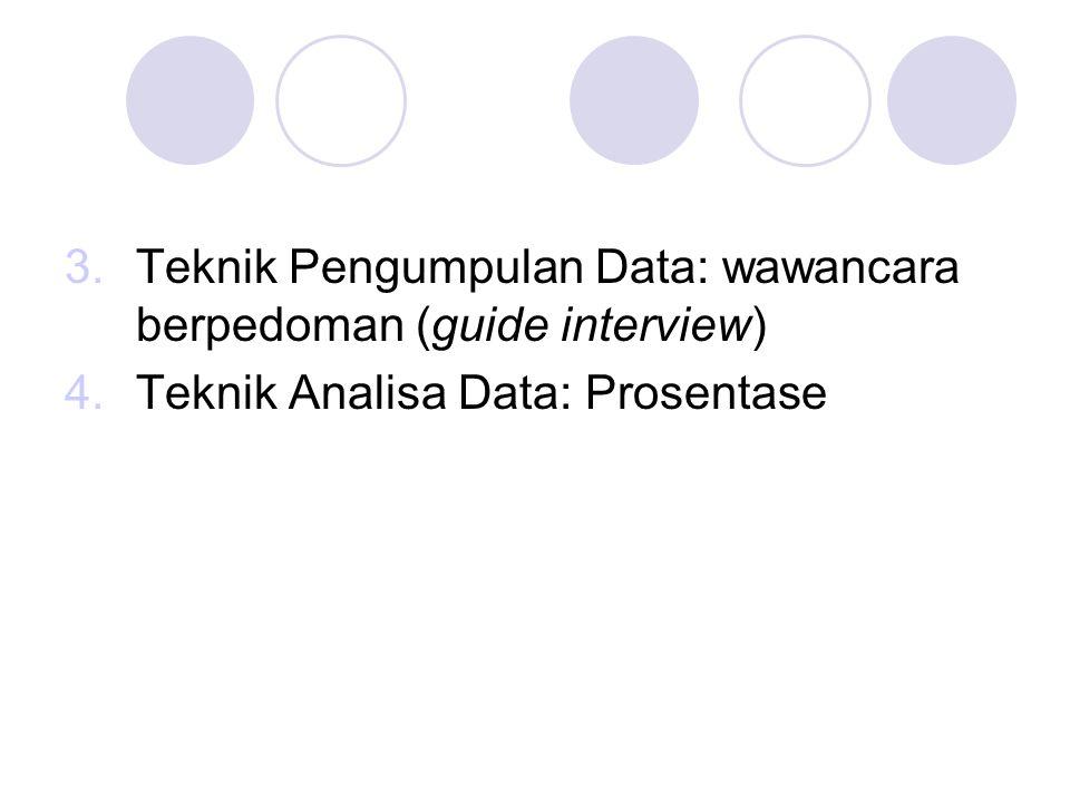 3.Teknik Pengumpulan Data: wawancara berpedoman (guide interview) 4.Teknik Analisa Data: Prosentase