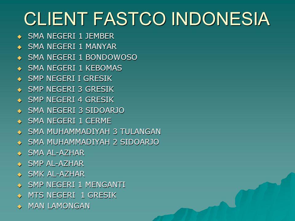 CLIENT FASTCO INDONESIA  SMA NEGERI 1 JEMBER  SMA NEGERI 1 MANYAR  SMA NEGERI 1 BONDOWOSO  SMA NEGERI 1 KEBOMAS  SMP NEGERI I GRESIK  SMP NEGERI