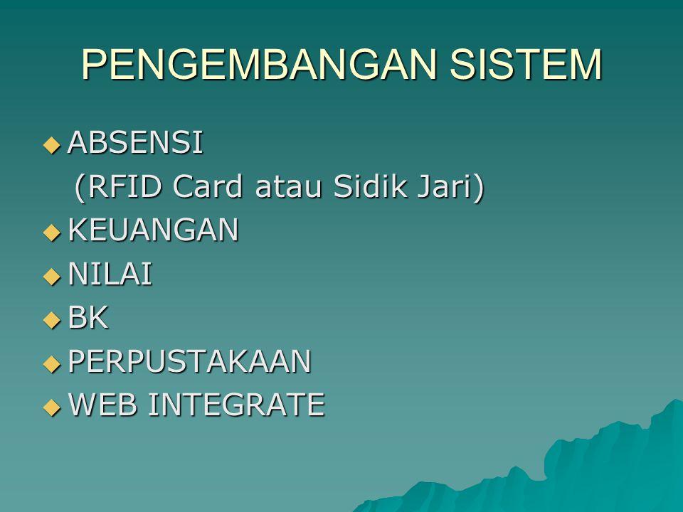 PENGEMBANGAN SISTEM  ABSENSI (RFID Card atau Sidik Jari) (RFID Card atau Sidik Jari)  KEUANGAN  NILAI  BK  PERPUSTAKAAN  WEB INTEGRATE