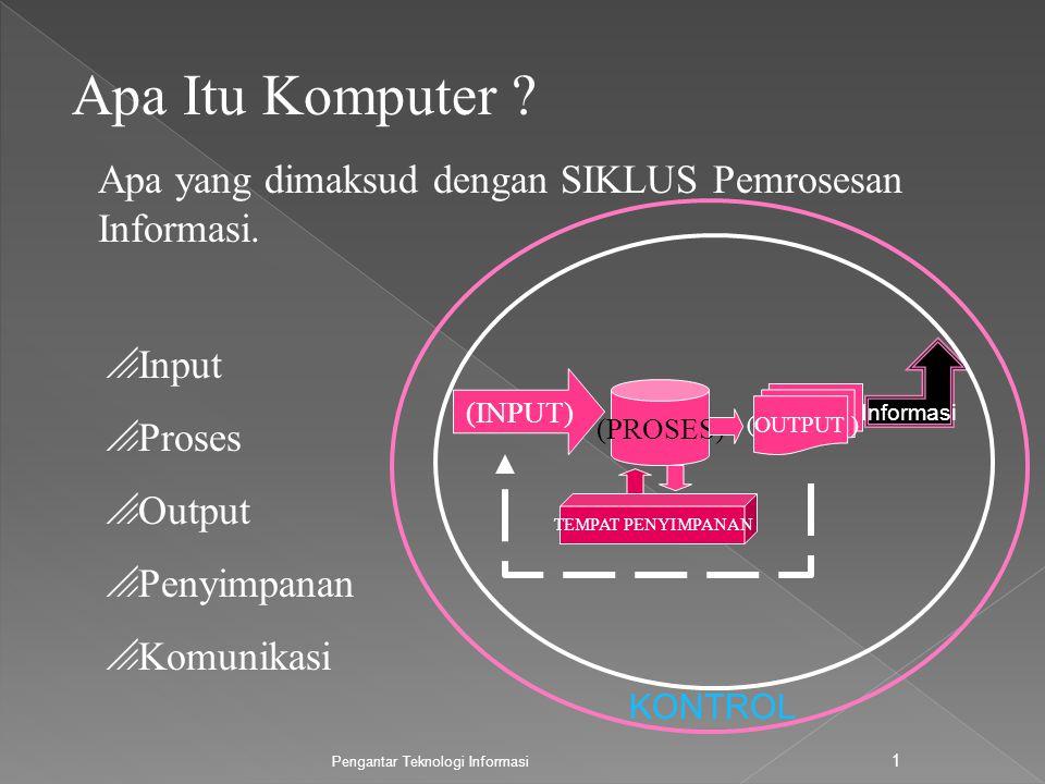Pengantar Teknologi Informasi 2 KOMPONENN SEBUAH KOMPUTER APA ITU PIRANTI INPUT .