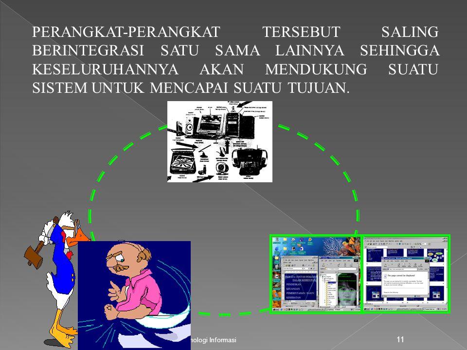 Pengantar Teknologi Informasi 11 PERANGKAT-PERANGKAT TERSEBUT SALING BERINTEGRASI SATU SAMA LAINNYA SEHINGGA KESELURUHANNYA AKAN MENDUKUNG SUATU SISTE