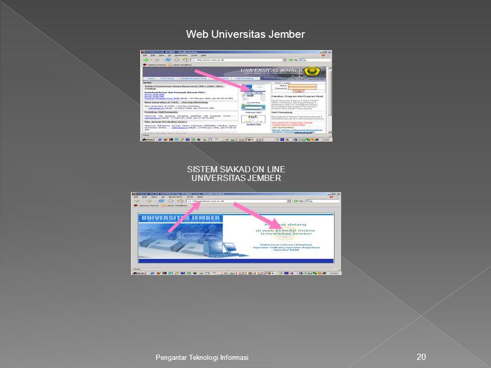 Pengantar Teknologi Informasi 20 Web Universitas Jember SISTEM SIAKAD ON LINE UNIVERSITAS JEMBER