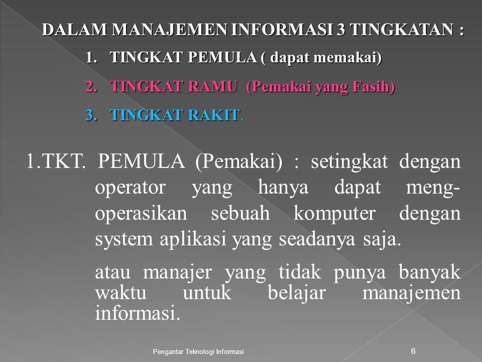 Pengantar Teknologi Informasi 6 DALAM MANAJEMEN INFORMASI 3 TINGKATAN : 1.TKT. PEMULA (Pemakai) : setingkat dengan operator yang hanya dapat meng- ope