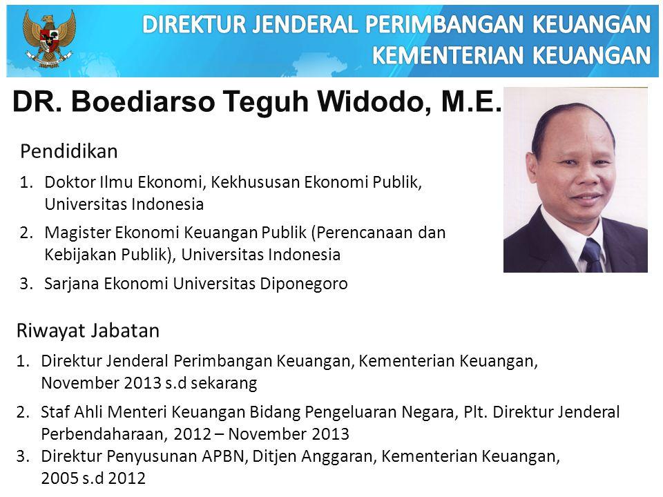 DR. Boediarso Teguh Widodo, M.E. Pendidikan 1.Doktor Ilmu Ekonomi, Kekhususan Ekonomi Publik, Universitas Indonesia 2.Magister Ekonomi Keuangan Publik