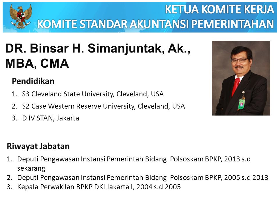 DR. Binsar H. Simanjuntak, Ak., MBA, CMA Pendidikan 1.S3 Cleveland State University, Cleveland, USA 2.S2 Case Western Reserve University, Cleveland, U