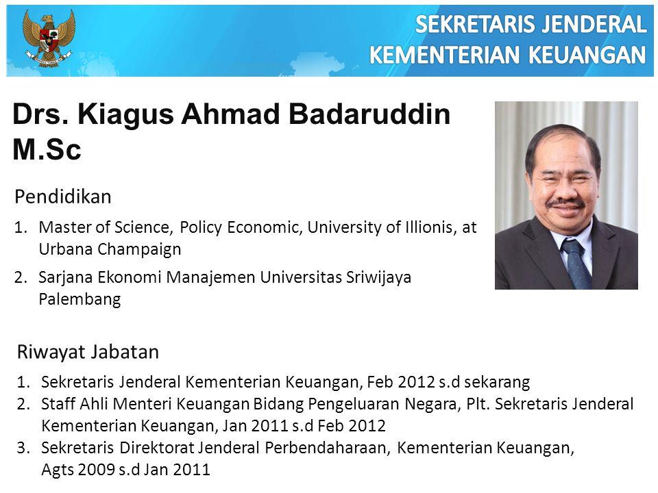 Drs. Kiagus Ahmad Badaruddin M.Sc Pendidikan 1.Master of Science, Policy Economic, University of Illionis, at Urbana Champaign 2.Sarjana Ekonomi Manaj
