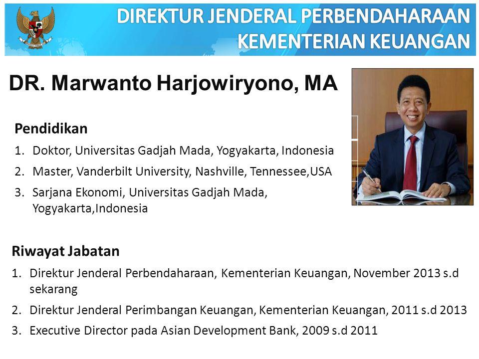 DR. Marwanto Harjowiryono, MA Pendidikan 1.Doktor, Universitas Gadjah Mada, Yogyakarta, Indonesia 2.Master, Vanderbilt University, Nashville, Tennesse