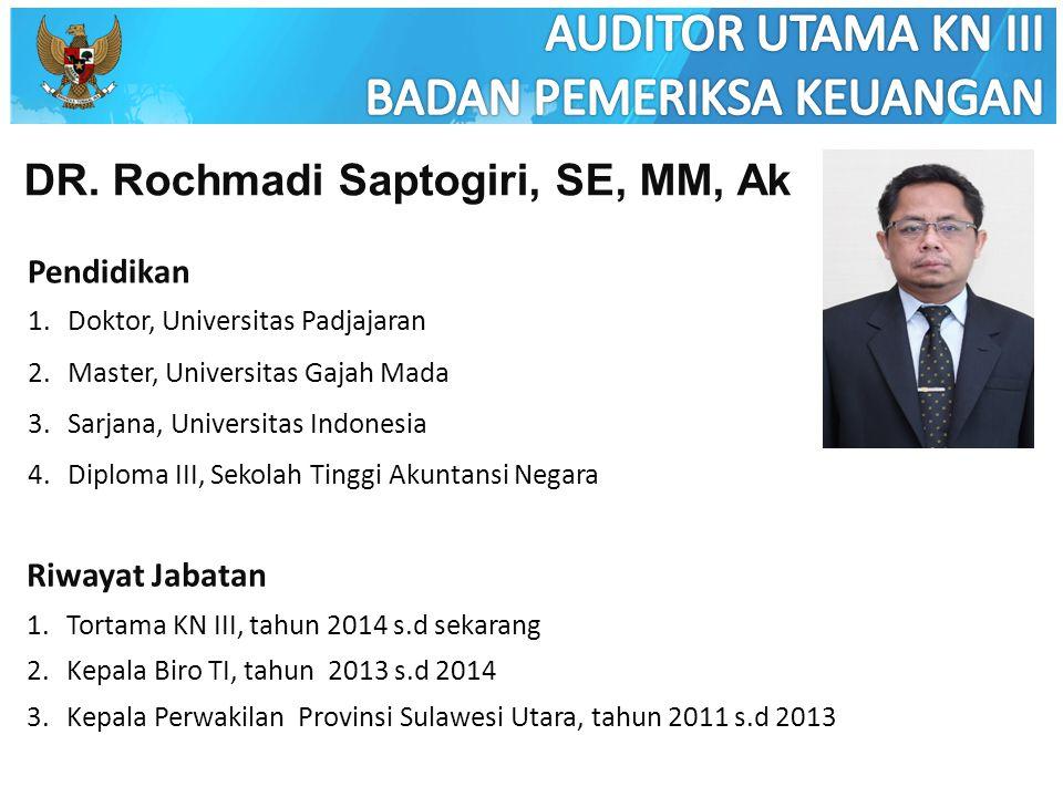 DR. Rochmadi Saptogiri, SE, MM, Ak Pendidikan 1.Doktor, Universitas Padjajaran 2.Master, Universitas Gajah Mada 3.Sarjana, Universitas Indonesia 4.Dip