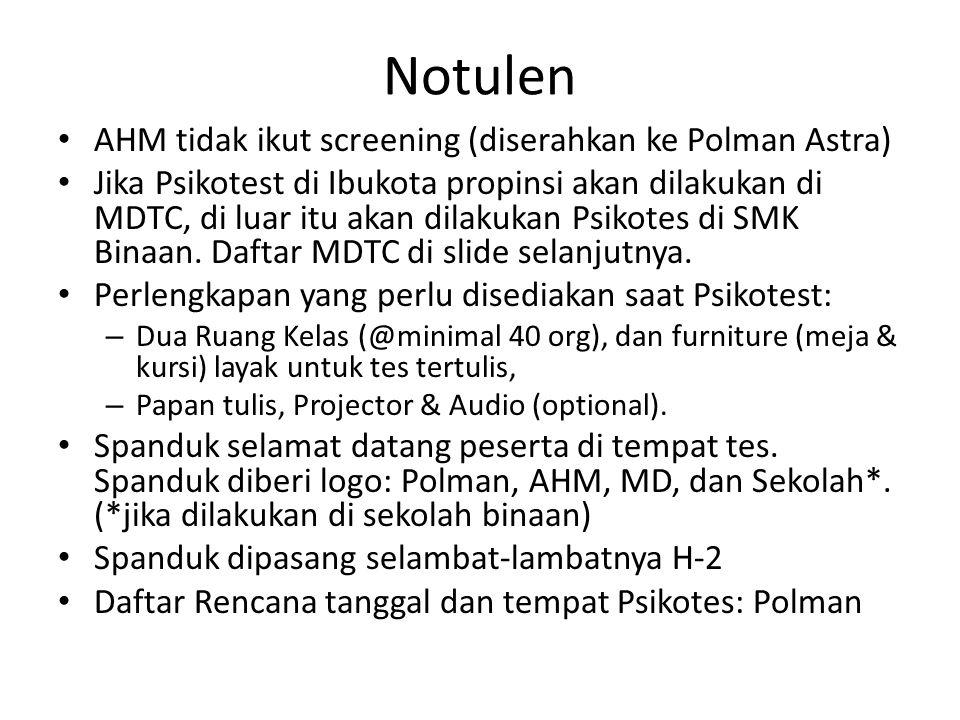 Daftar MD Tempat Tes Non DKI 1.MD Daya Adicipta Mustika: Bandung, Sukabumi & Cirebon 2.MD HSO Semarang: Semarang, Pati (SMK Tunas Harapan), Pemalang (SMK Ampel Gading) & Solo 3.MD HSO Jogja: Jogja, Gombong 4.MD Mitra Pinasthika Mustika: Surabaya, Tuban, Malang (SMKN 1 Singosari), Madiun & Jember (SMKN 2 Jember*) 5.MD Indako Trading Co.: Medan 6.MD Hayati: Padang 7.MD HSO Palembang: Palembang Catatan: Warna hijau: sudah deal dengan sekolahan, * masih dalam proses deal