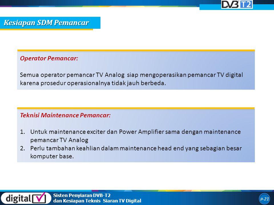Sisten Penyiaran DVB-T2 dan Kesiapan Teknis Siaran TV Digital p. 21 Operator Pemancar: Semua operator pemancar TV Analog siap mengoperasikan pemancar